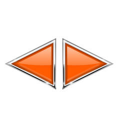 Orange triangle buttons with metal frame vector