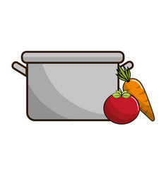 Organ tomato and carrot food next to pot vector