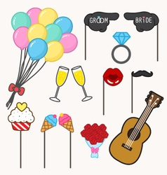 Photo booth props for wedding vector