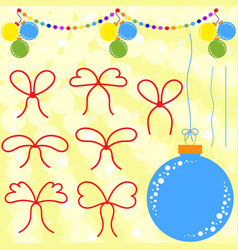 set of flat red bows and ropes to christmas vector image vector image