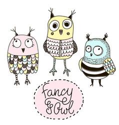 Set of funny owls doodle owls birds set vector