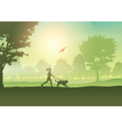 Silhouette of a female jogging with her dog in the vector image