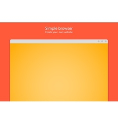 Simple browser window create website on red vector image vector image