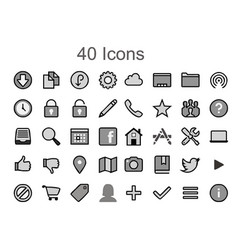 Social media icons image - 40 tool pack vector