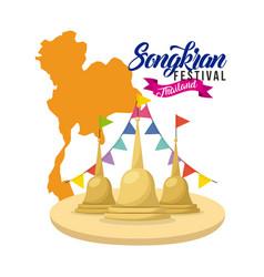 songkran festival thailand temple flag garland map vector image