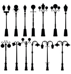 Street light ancient set in black color vector
