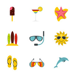 Summer beach icons set flat style vector