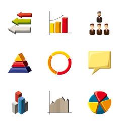 trendy infographic icons set cartoon style vector image