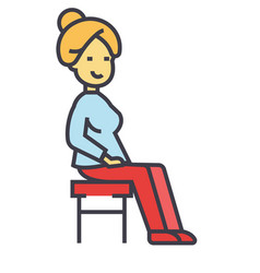 Woman sitting on the chair concept line vector