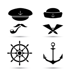 Nautical icons captain and sailor sea set vector