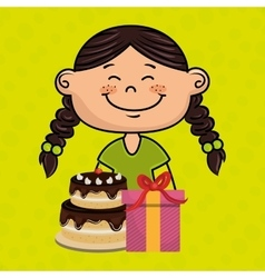 Girl cake gift box vector