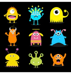 Monster big set cute cartoon scary character baby vector
