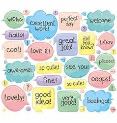 Handwritten phrases in speech balloons vector