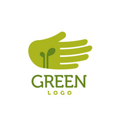 hand with green sprouts logo care concept vector image