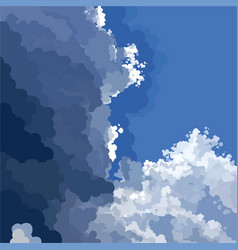 Painted blue sky with light and dark cloud vector