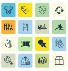 Set of 16 ecommerce icons includes identification vector