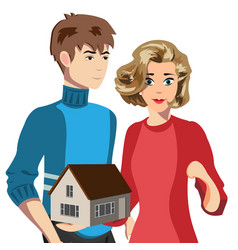 Composition wife and husband holding small house vector