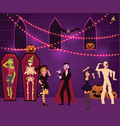 People having fun at halloween party decorated vector