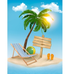 Travel background with tropical island summer vector