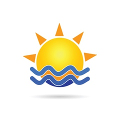 Sun with blue sea icon vector