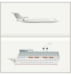 Airplane and cruise liner vector