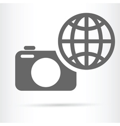 Digital camera earth icon vector