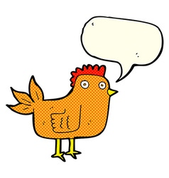 Cartoon hen with speech bubble vector