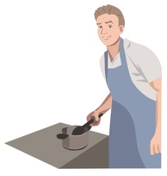 Modern man the kitchen hero vector