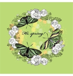 Spring greeting card hand drawn flower butterfly vector