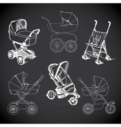 Set hand drawn baby carriage stroller baby vector