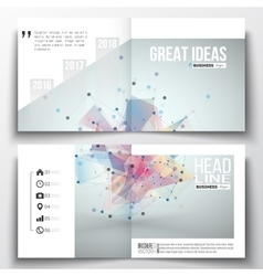 Set of square design brochure template molecular vector