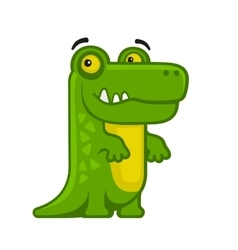 Alligator Cartoon Style Funny Animal on White vector image