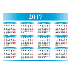 French calendar 2017 with festivities vector