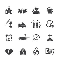 Alcoholism icons set flat design vector