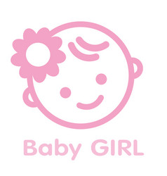 Baby girl face icon symbol isolated background vector