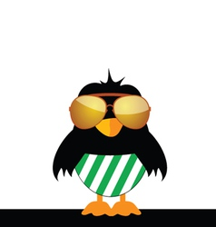 Bird with glasses and green shorts vector