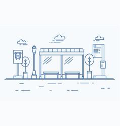 bus stop street light public transport timetable vector image vector image