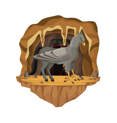 cave interior scene with hippogriff greek vector image