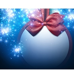 Christmas blue background with bow vector