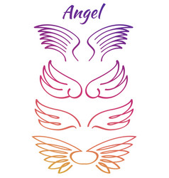 colorful elegant angel flying wings collection vector image