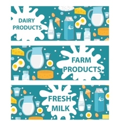 Dairy banner flat style milk products board vector