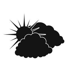 dark cloudy sun icon simple black style vector image