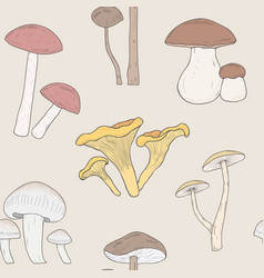 different mushrooms seamless pattern hand drawn vector image