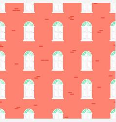 doors seamless pattern and blue brick wall vector image vector image