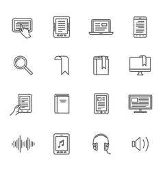 E-book and audio books icons vector image vector image