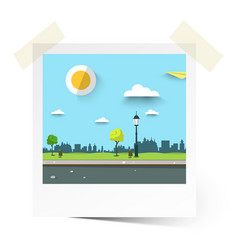 flat design empty park landscape in photo frame vector image