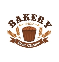 Fresh baked rye bread icon for bakery shop emblem vector image