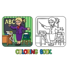 Funny teacher coloring book profession series vector