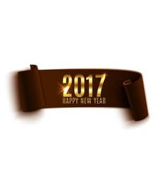 Happy new year 2017 brown paper banner vector