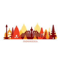 indonesia architecture landmarks skyline shape vector image vector image